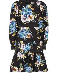Erdem Rydal Floral Cotton-poplin Minidress - Black