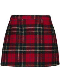 RED Valentino Tartan Wool Miniskirt - Red