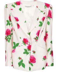 Alessandra Rich Floral Faille Blazer - White