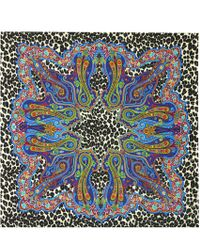 Etro Printed Cashmere And Silk Scarf - Blue