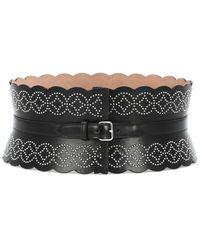 Alaïa Studded Wide Leather Belt - Black