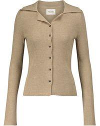Nanushka Sid Ribbed-knit Wool-blend Top - Natural