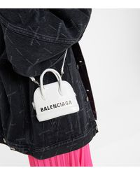 Balenciaga Schultertasche Ville Mini aus Leder - Schwarz