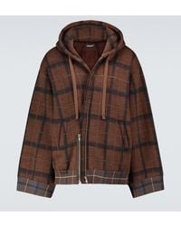 Undercover Zipped Checked Hooded Sweatshirt - Brown