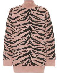 Alaïa Zebra Jacquard Turtleneck Jumper - Pink