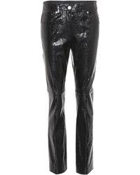 Helmut Lang Pantalon en cuir verni - Noir
