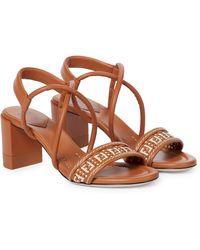 Fendi Ff Interlace Leather Sandals - Brown