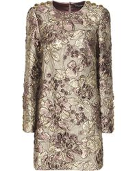 Dolce & Gabbana - Metallic Cloqué Jacquard Dress - Lyst
