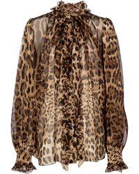 Dolce & Gabbana Blusa de organza de seda estampada - Marrón