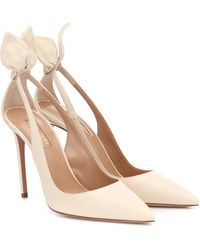 Aquazzura Bow Tie 105 Leather Court Shoes - Natural