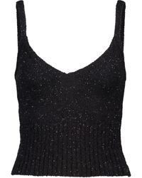 Altuzarra Toria Sequined Knit Crop Top - Black