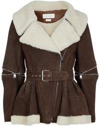 Alexander McQueen Shearing-lined Suede Jacket - Brown
