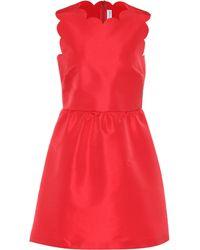 RED Valentino Vestido de satén festoneado - Rojo