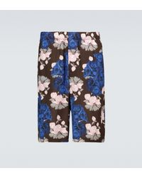 Undercover Floral And Skull Printed Shorts - Blue
