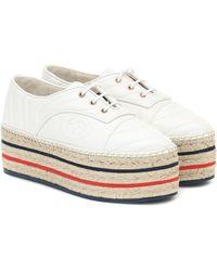 Gucci Espadrille-Sneakers aus Leder - Weiß