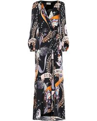 Temperley London Robe longue Clementina imprimée en satin - Noir