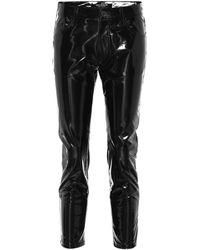 Junya Watanabe Pantalon ajusté raccourci en vinyle - Noir