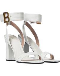 Balmain Stella Leather Sandals - White