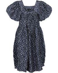 Lee Mathews Robe Constance en lin et soie à fleurs - Bleu