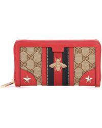Gucci Portefeuille en toile et cuir Vintage Web - Rouge