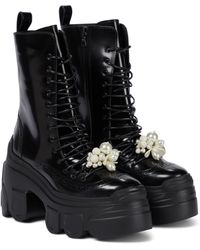 Simone Rocha Embellished Platform Leather Ankle Boots - Black