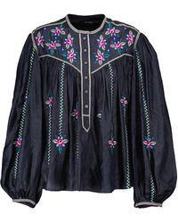 Isabel Marant Blusa Caitlyn de seda con bordado floral - Negro