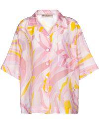 Emilio Pucci Camisa de algodón y seda estampada - Rosa