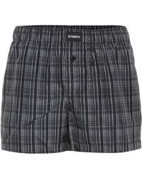 Vetements Logo-embroidered Checked Shorts - Grey