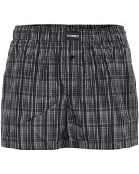 Vetements Logo-embroidered Checked Shorts - Gray