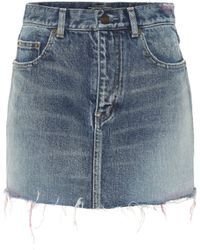 Saint Laurent Denim Miniskirt - Blue