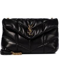Saint Laurent Loulou Toy Puffer Leather Shoulder Bag - Black