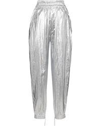 Isabel Marant Pantalon Galoni à taille haute en coton enduit - Métallisé