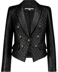 Veronica Beard Cooke Dickey Leather Blazer - Black