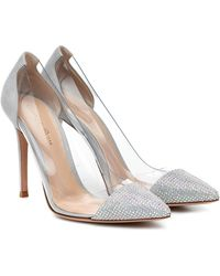 Gianvito Rossi Plexi 105 Embellished Court Shoes - Metallic