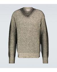 Marni Gestrickter Pullover aus Wolle mit V-Ausschnitt - Grau
