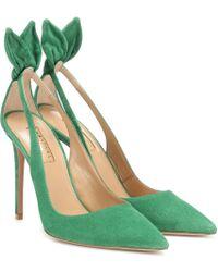 Aquazzura Exclusive To Mytheresa – Deneuve 105 Suede Court Shoes - Green