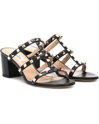 a79cdfa3d46 Valentino Rockstud Block Heel Sandals in Blue - Lyst