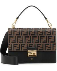 Fendi Kan U Medium Leather Shoulder Bag - Black