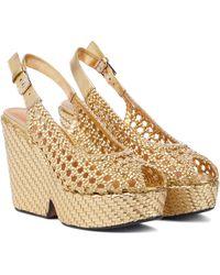 Clergerie Exclusive To Mytheresa – Dallia Leather Platform Sandals - Metallic