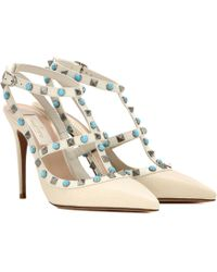 bfb5d1208b49 Valentino Black And White Leather  rockstud  T-strap Pumps in Black ...