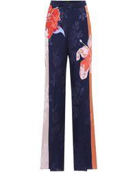 Etro Pantalon ample en jacquard de soie mélangée - Bleu