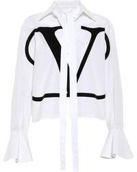 Valentino Bluse VLOGO aus Baumwolle - Weiß
