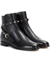 Valentino Ankle Boots Rockstud aus Leder - Schwarz