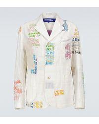 Junya Watanabe Blazer de patchwork - Blanco
