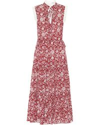 See By Chloé Floral Cotton-voile Midi Dress - Red