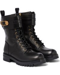 Versace Ankle Boots Safety Pin aus Leder - Schwarz