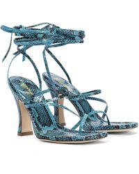 Paris Texas - Snake-effect Leather Sandals - Lyst