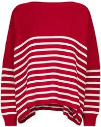 Valentino Gestreifter Pullover aus Baumwolle - Rot