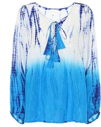 Anna Kosturova Exklusiv bei Mytheresa – Bluse aus Seide - Blau