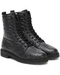 Fendi Ankle Boots FF aus Leder - Schwarz